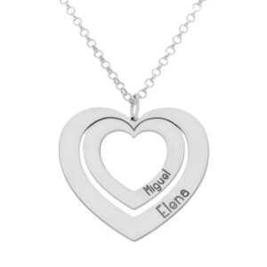 Colgante con corazones de plata para enamorados