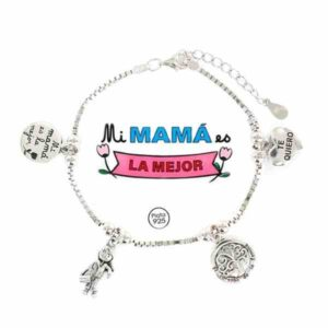 Pulsera de la Familia para las madres de plata
